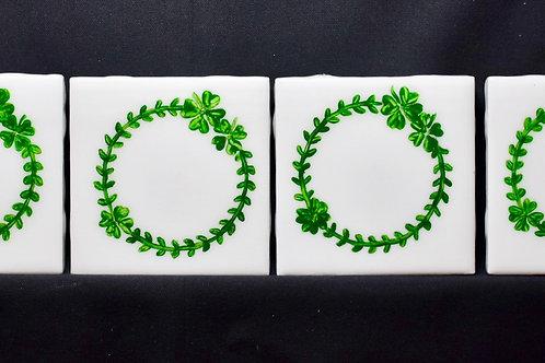 Irish 4 Leaf Clover-Ceramic Coasters-White