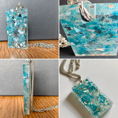 Aqua Shimmer Pendant Necklace multi view