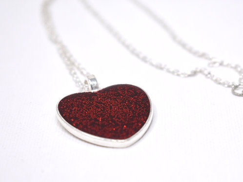 Red Glitter Heart Necklace front view