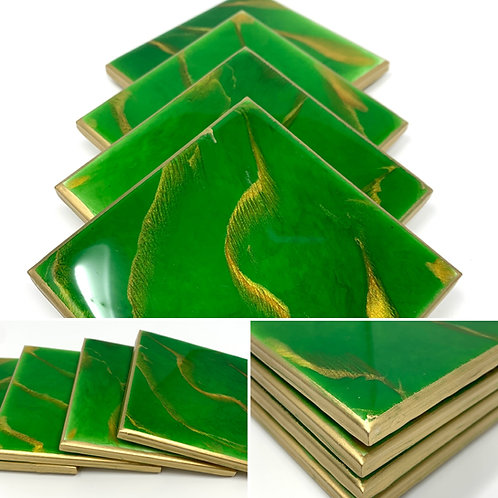 Green and Gold coasters with gold gilding boarder multi view