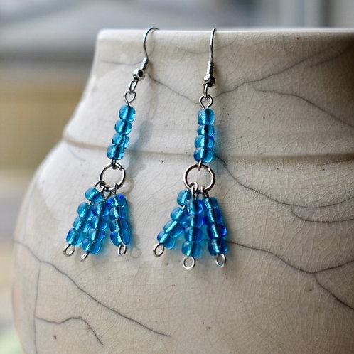 Aqua Bead earrings - front view