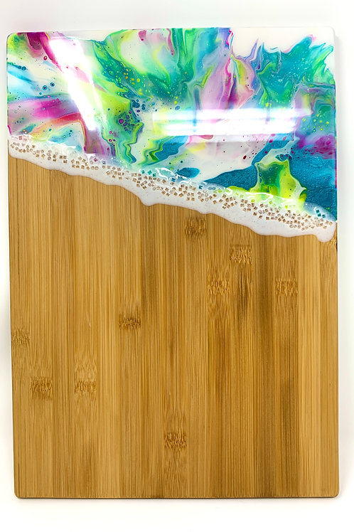 Abstract Multi Colored - Bamboo Charcuterie board - front view