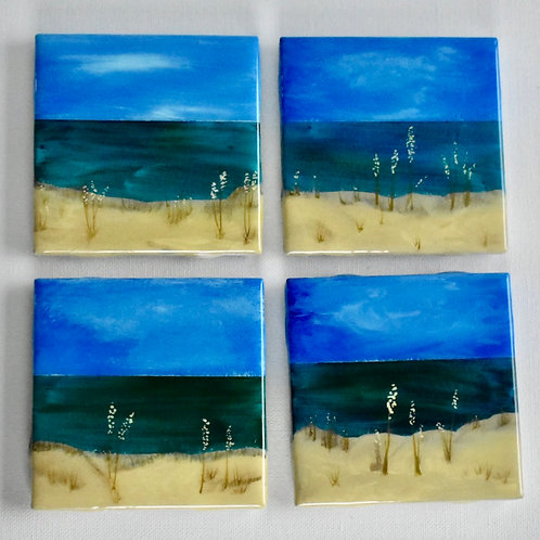Ceramic Coasters - Set of 4 - On The Beach