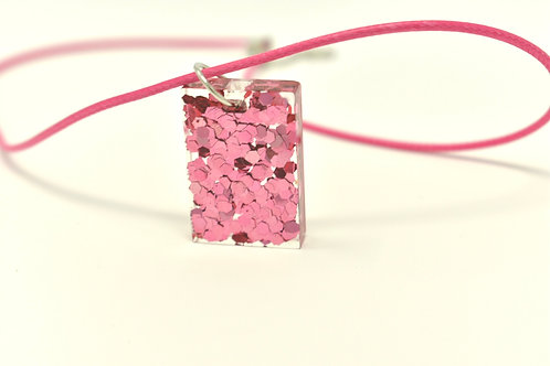 Pink Metallic Dazzle- Resin Pendant Necklace front view