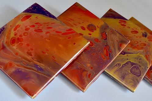 Ceramic Coasters - Orange, Metallic Gold and purple Front view
