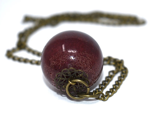 Red Orb - Resin Pendant Necklace side view