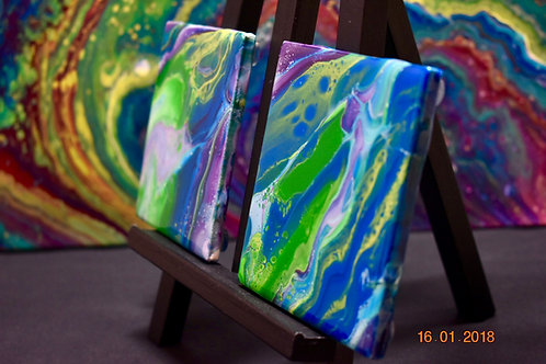 Spring Ceramic Coasters - Set of Four front view