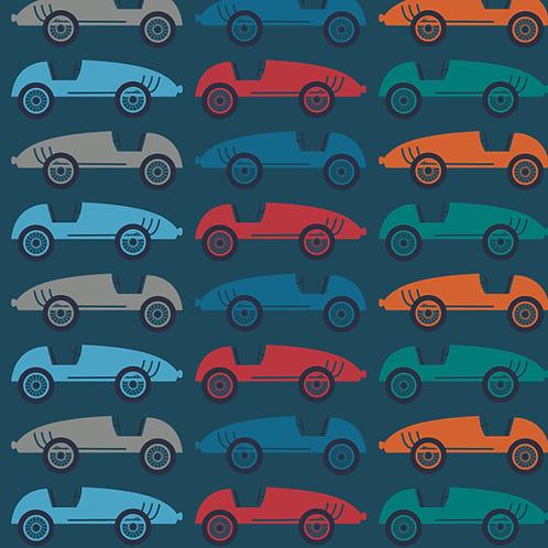Tricot - blauw met racecars