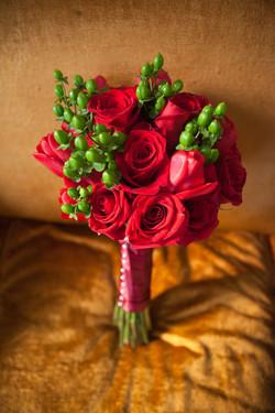 Red Rose Green Hypericum