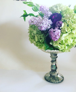 Silver compote purple flowers