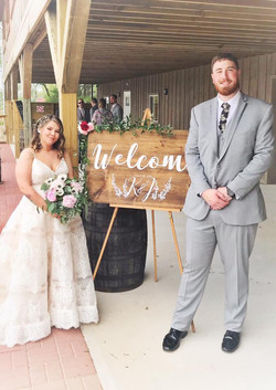 Bride and Groom Welcome Sign