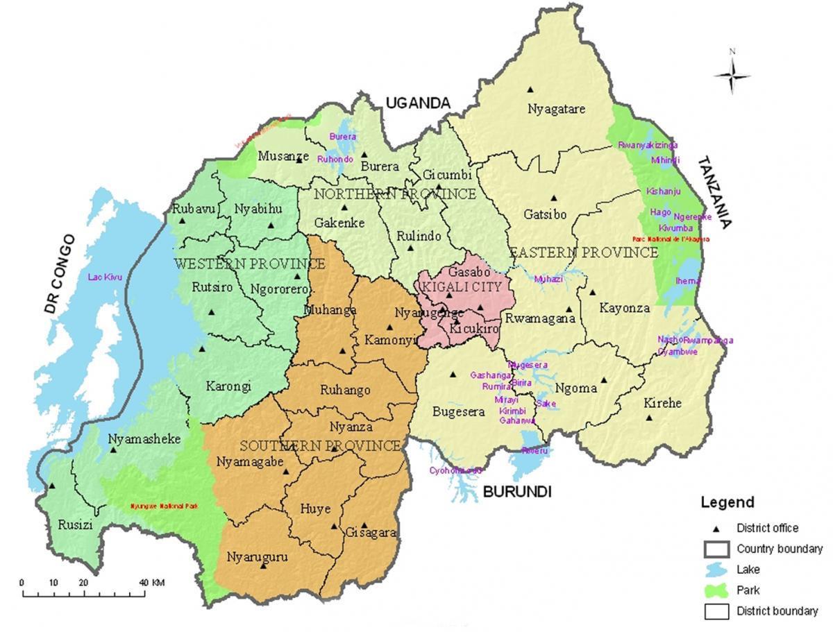 Ruanda: Provinzen und Distrikte