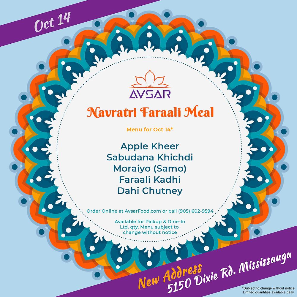 Faraali Thali, Vrat Ki Thali at Avsar in Mississauga