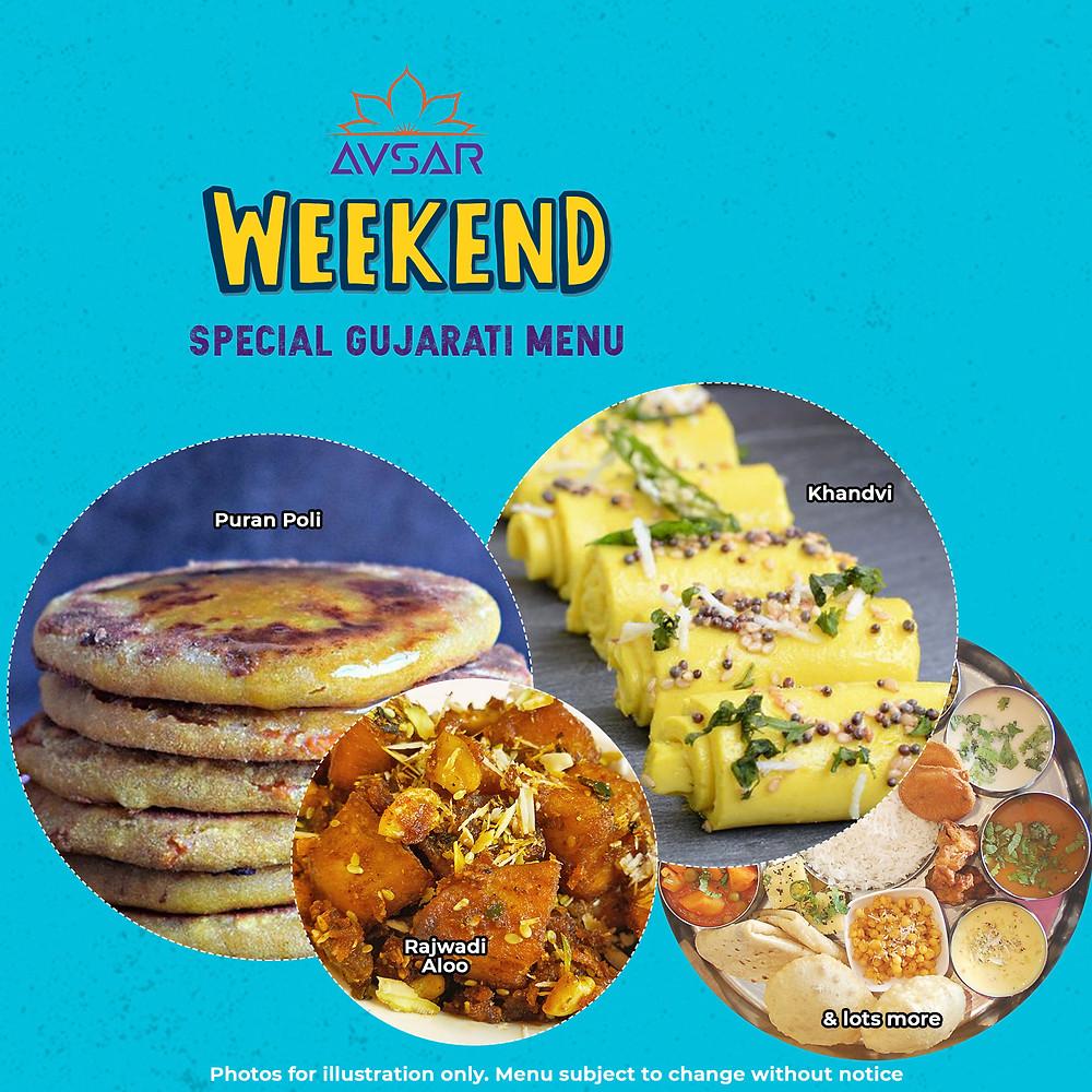 Gujarati Thali featuring Puran poli, Khandvi, and lots more