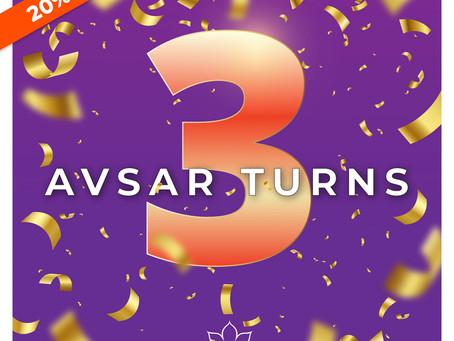 Avsar Turns 3 - 20% off to celebrate!