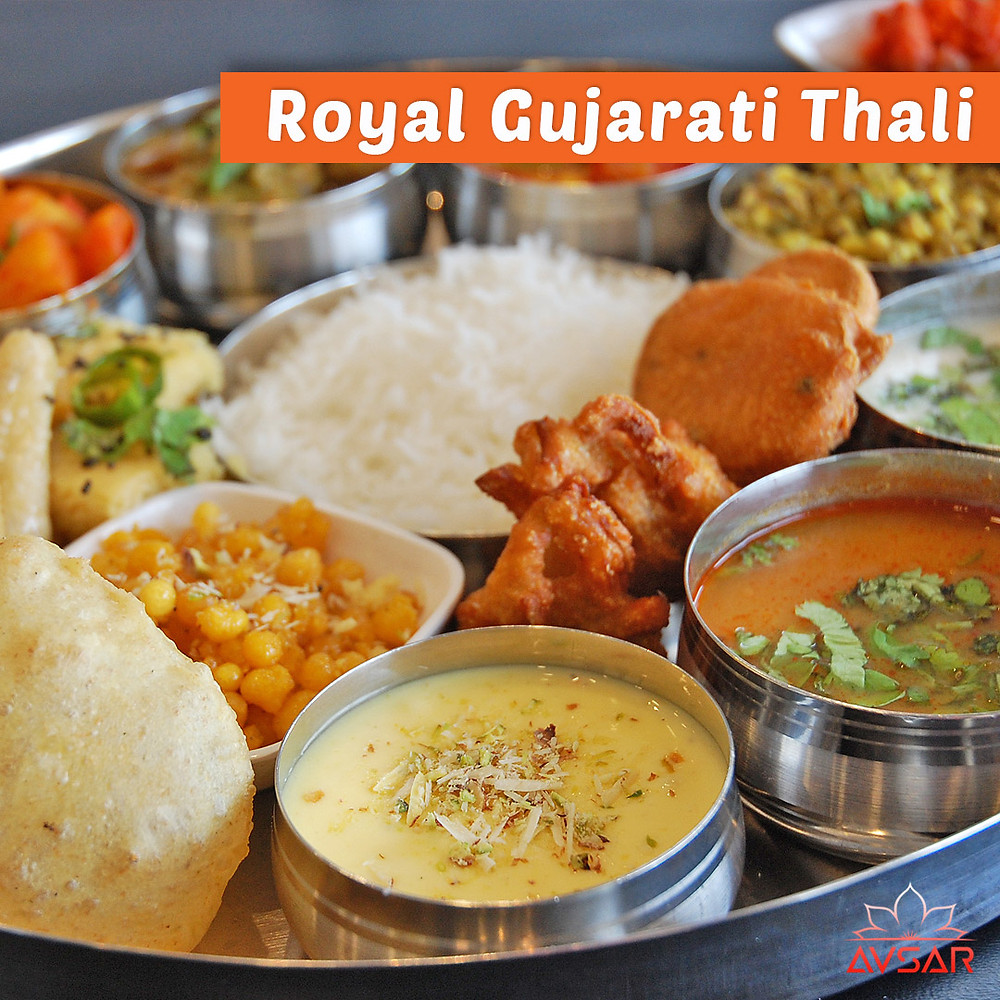 Royal Gujarati Thali featuring Shrikhand