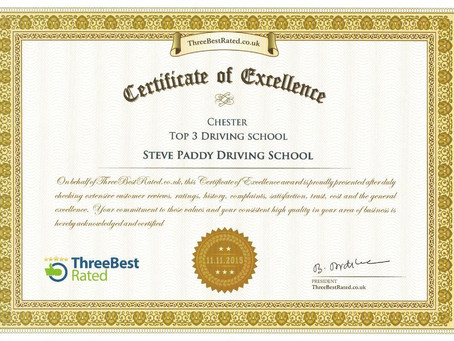 Recognition for Steve Paddy Driving School from Three Best Rated