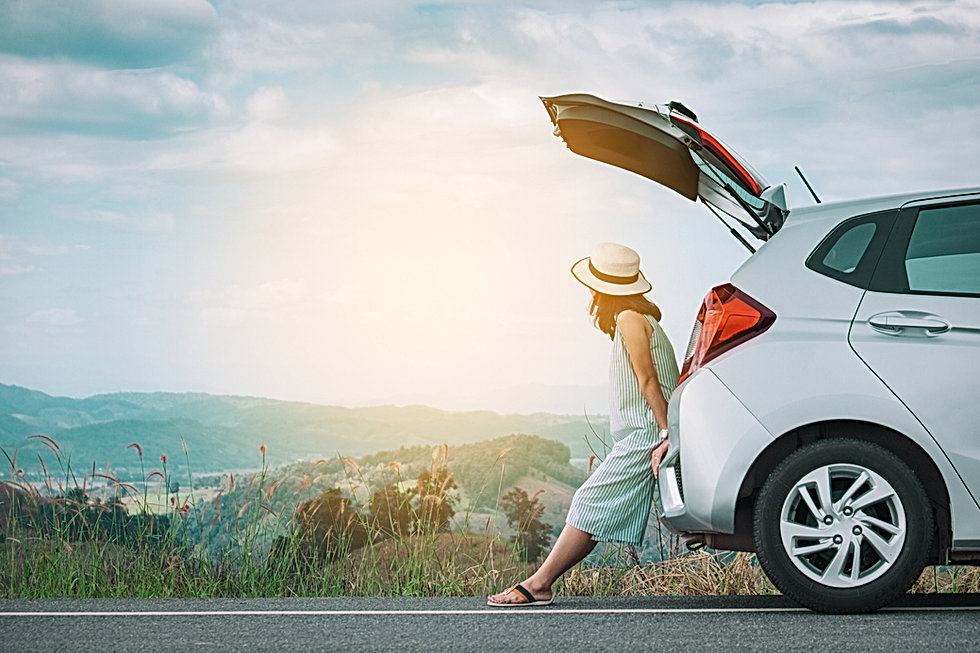driver looking across sunny landscape while standing behind her parked car