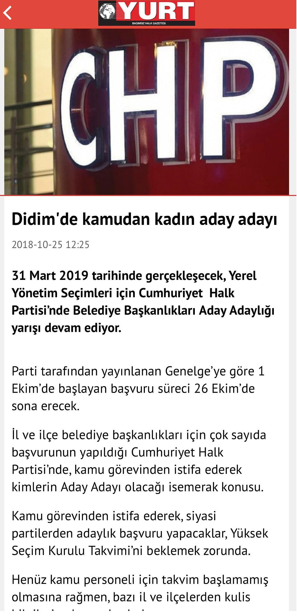 25.10.2018 TARİHLİ YURT GAZETESİ