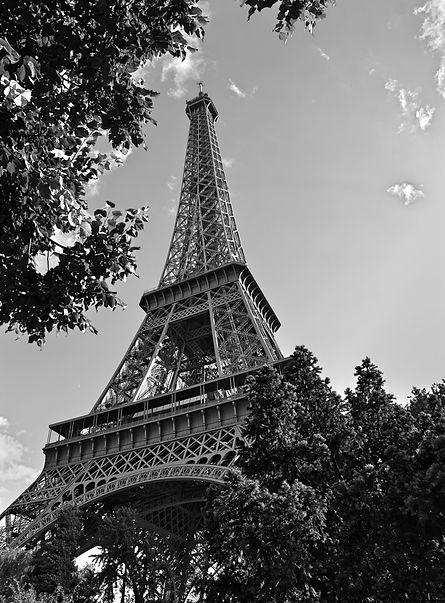 eiffel tower paris france black and white photo