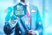 Big data concept man selecting and press