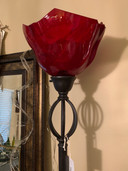 Red Glass Standing Lamp