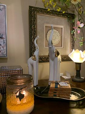 Elephants and Artisan Glass Lamp