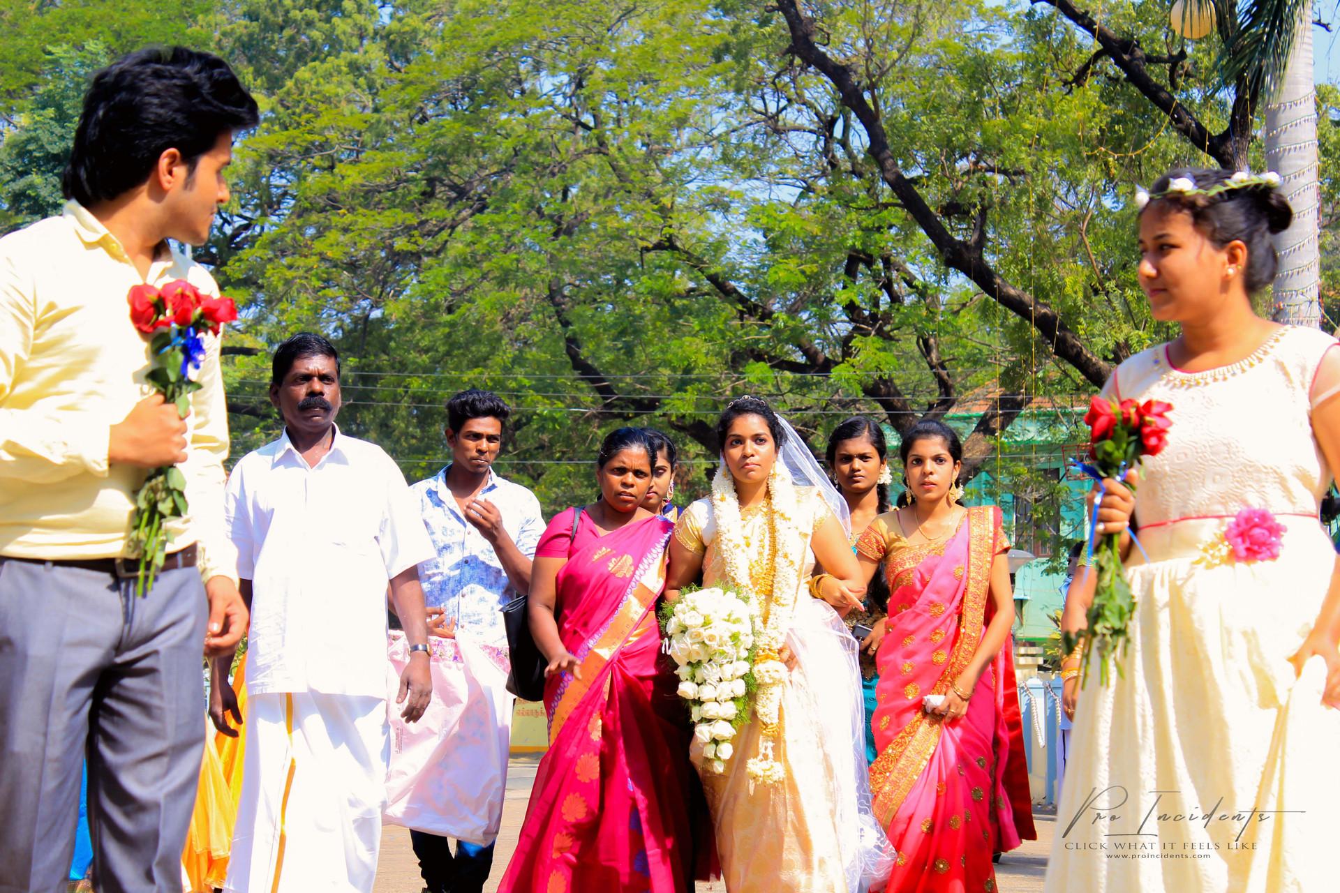 Bride entry photography at CSI wedding Nagercoil Tamilnadu