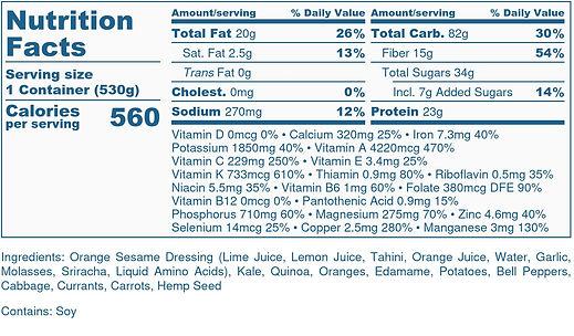 Kale & Quinoa Salad - Nutrition Label.jp