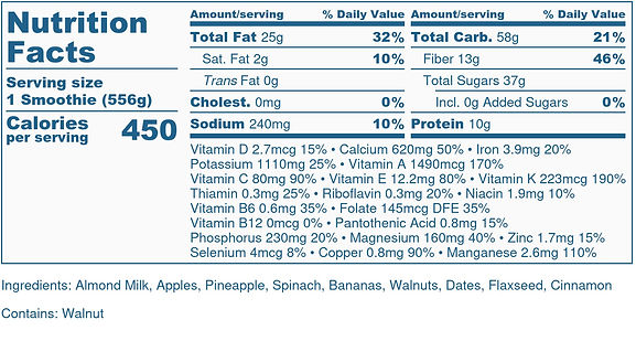 Apple Flax Smoothie - Nutrition Label-2.