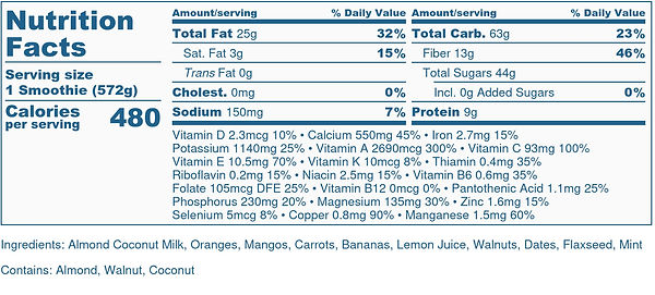Dreamsicle Smoothie - Nutrition Label.jp