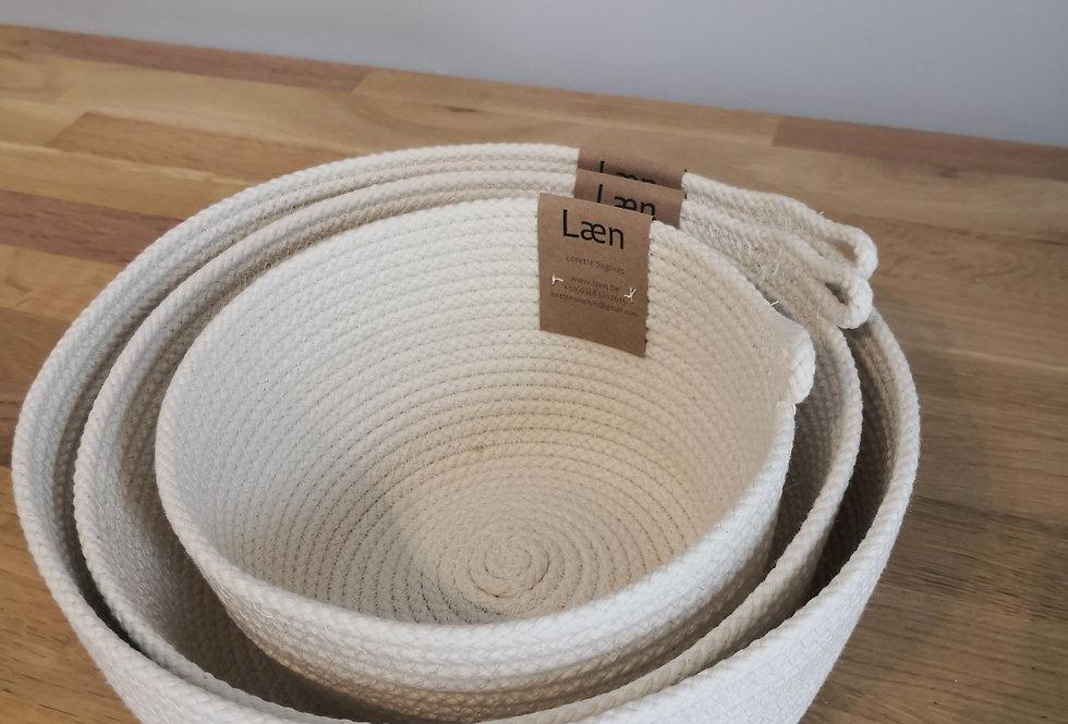 Trio de paniers en coton (petit, moyen et grand)
