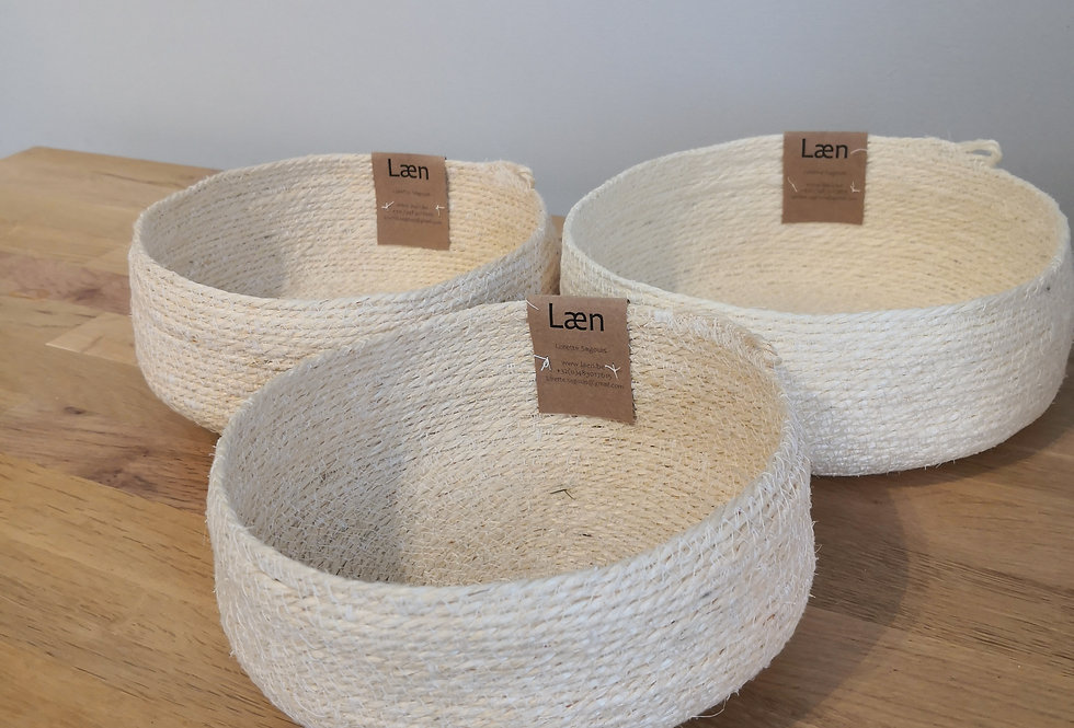 Trio de paniers en sisal (petit, moyen et grand)