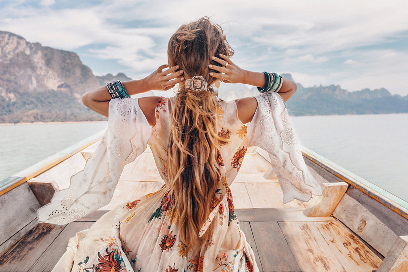 fashionable young model in boho style dr