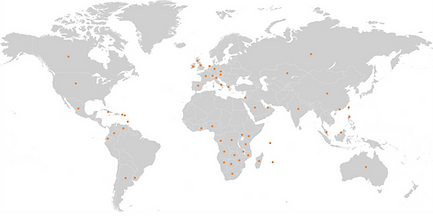 World Map - customers - International assurance Limited PCC, Mauritius