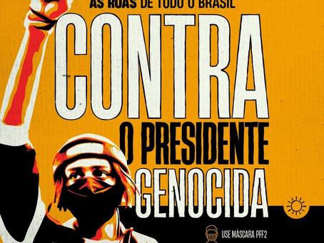Atos unitários Fora Bolsonaro por todo Brasil no próximo sábado, dia 29