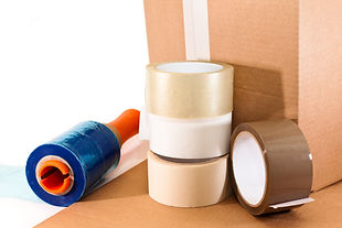 Cardboard for packaging, adhesive tape a