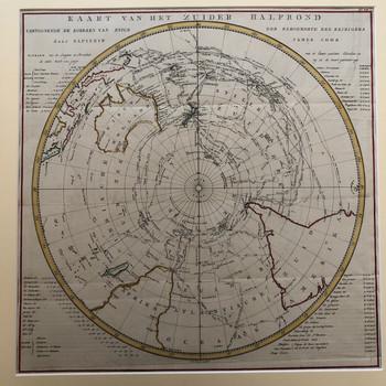'Kaart van het Zuider Halfrond, vertoonende de Koersen van enige der beroemdste zee reizigers door Kapitein James Cook'