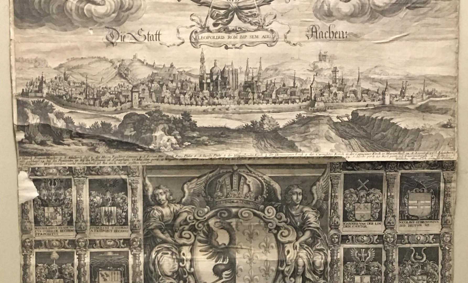 Wilhelm Altzenbach.  DIE STATT AACHEN. No date, circa 1678, Cologne, double folio (570mm x 1170mm), intaglio engraving, bird's eye view of Aachen linen-backed.