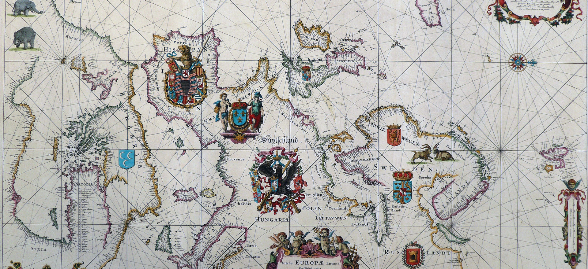 Totius Europae Littora Novissime Edita. Pascaert Vertoonende alle de See-Custen van Europa. Frederick de Wit, Amsterdam 1675.