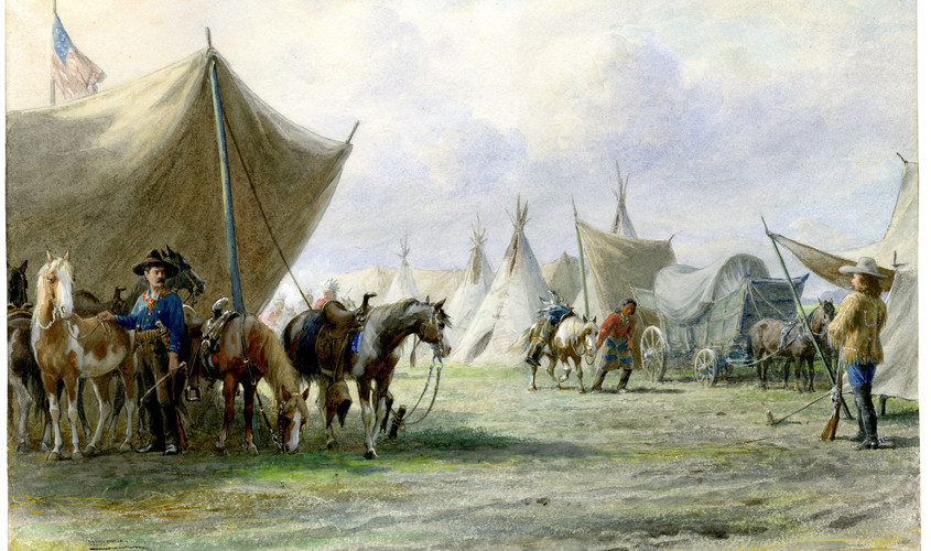 Encampment of Buffalo Bill, Pawnee Bill and Indians during their Wild West Show.