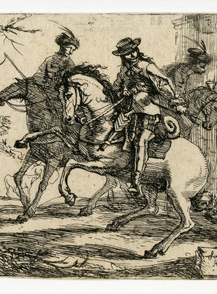 Group of cavalry men on horseback at a tavern where a woman poors wine.