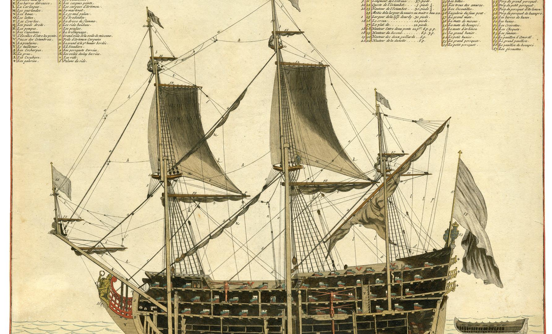 'Coupe d'un Amiral de 104 pieces de Canon …'