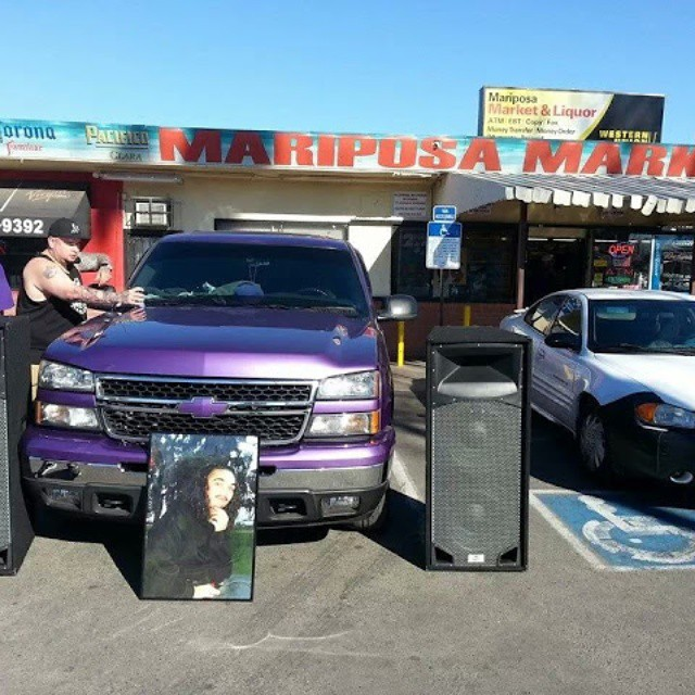 DJ and for a fundraiser car wash in Stockton California DJ in from the inside of the whip