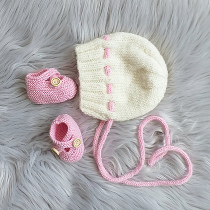 Perfection in Pink and Cream - Hand Made in Pure New Zealand Wool