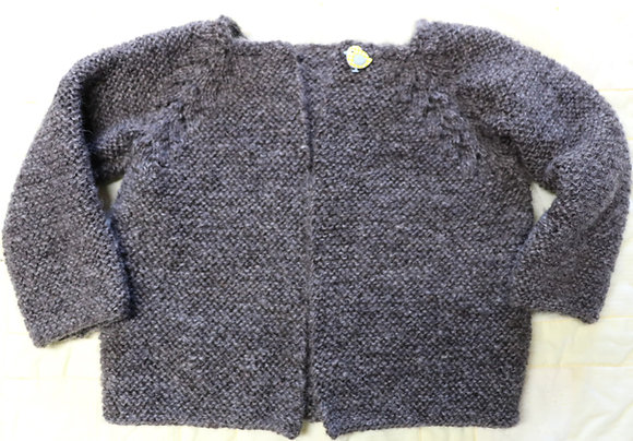 Norwegian Fir Pattern Cardigan in Gotland Pelt Wool - Newborn