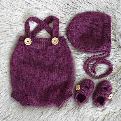 Classic Romper Set With Bonnet and Booties in Plum