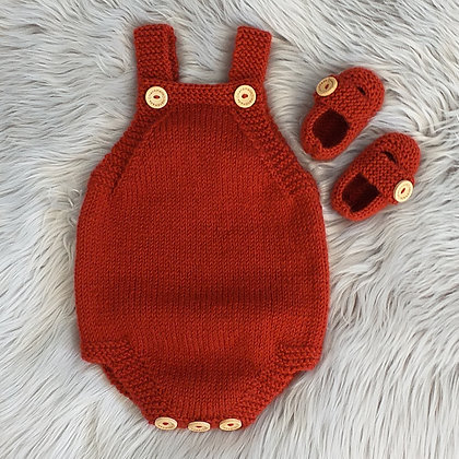Traditional Romper and Booties Set in Russet