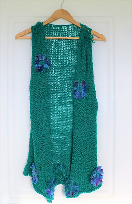 Vibrant and Quirky Emerald Vest by Suzanne - Pure New Zealand Wool