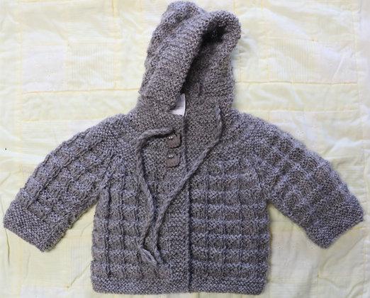 Snuggly Hooded Jacket in Gotland Pelt Wool - Newborn